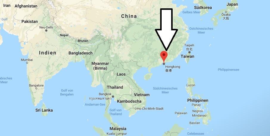 Wo liegt Hongkong? Wo ist Hongkong? in welchem Land? Welcher Kontinent ist Hongkong?
