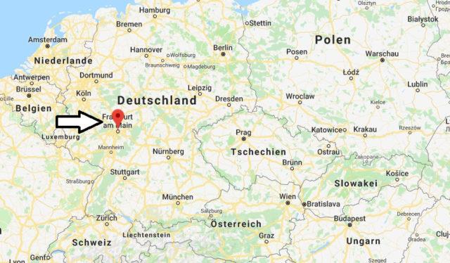 Wo liegt Frankfurt? Wo ist Frankfurt? in welchem Land? Welcher Kontinent ist Frankfurt?
