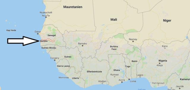 Wo liegt Gambia? Wo ist Gambia? in welchem Land? Welcher Kontinent ist Gambia?