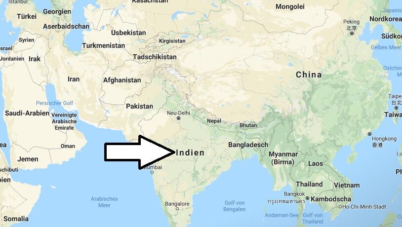 Wo liegt Indien? Wo ist Indien? in welchem Land? Welcher Kontinent ist Indien?