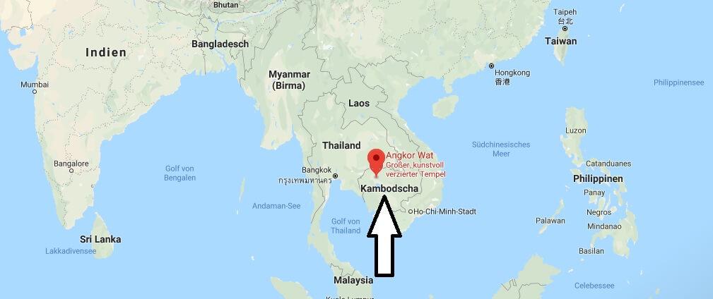 Wo liegt Angkor - Wo ist Angkor - in welchem Land - Welcher Kontinent ist Angkor