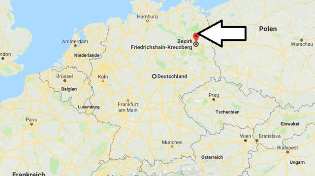 Wo liegt Bezirk Friedrichshain-Kreuzberg? Wo ist Bezirk Friedrichshain-Kreuzberg
