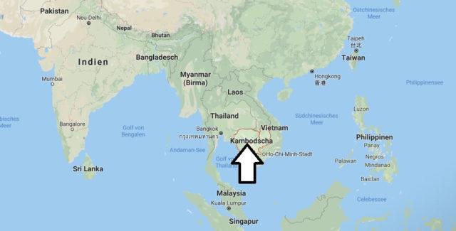 Wo liegt Kambodscha? Wo ist Kambodscha? in welchem Land? Welcher Kontinent ist Kambodscha?