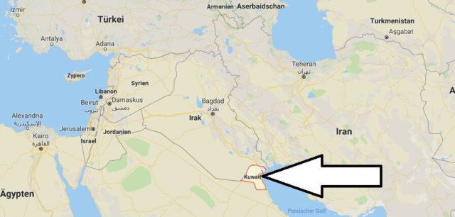 Wo liegt Kuwait? Wo ist Kuwait? in welchem Land? Welcher Kontinent ist Kuwait?