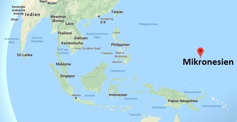 Wo liegt Mikronesien - Wo ist Mikronesien - in welchem Land - Welcher Kontinent ist Mikronesien