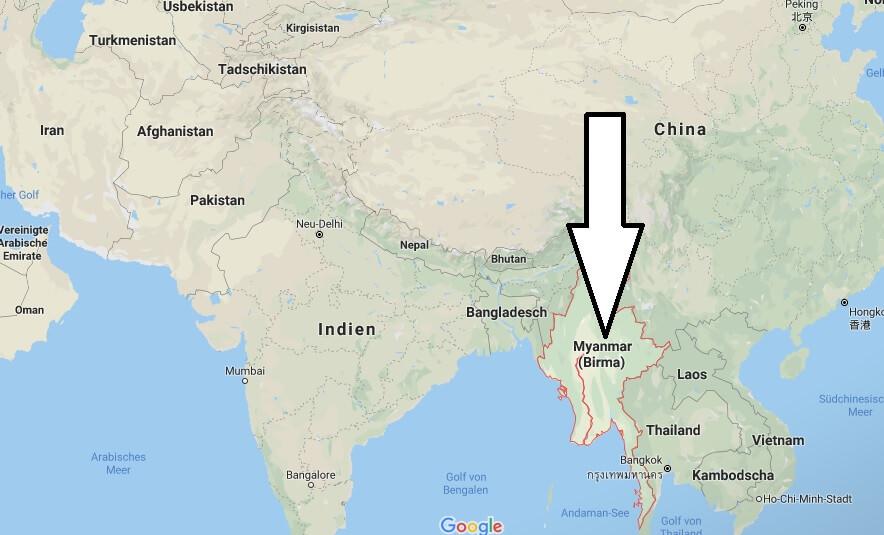 Wo liegt Myanmar? Wo ist Myanmar? in welchem Land? Welcher Kontinent ist Myanmar?
