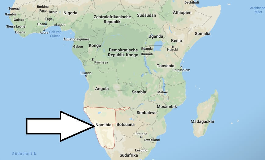 Wo liegt Namibia? Wo ist Namibia? in welchem Land? Welcher Kontinent ist Namibia?