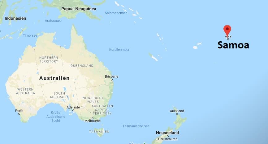Wo liegt Samoa? Wo ist Samoa? in welchem Land? Welcher Kontinent ist Samoa?