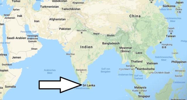 Wo liegt Sri Lanka? Wo ist Sri Lanka? in welchem Land? Welcher Kontinent ist Sri Lanka?