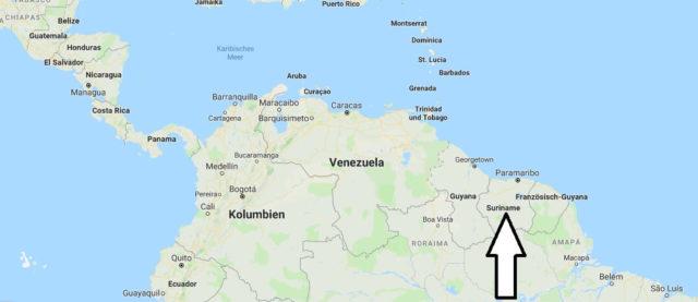 Wo liegt Suriname? Wo ist Suriname? in welchem Land? Welcher Kontinent ist Suriname?