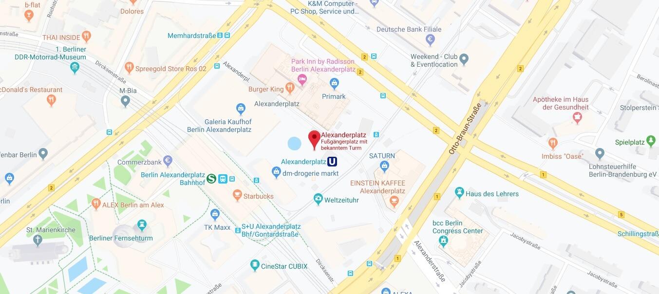 Wo liegt Alexanderplatz? Wo ist Alexanderplatz