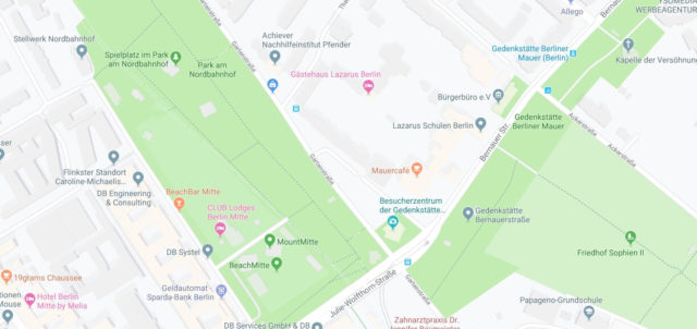 Wo liegt Gedenkstätte Berliner Mauer? Wo ist Gedenkstätte Berliner Mauer