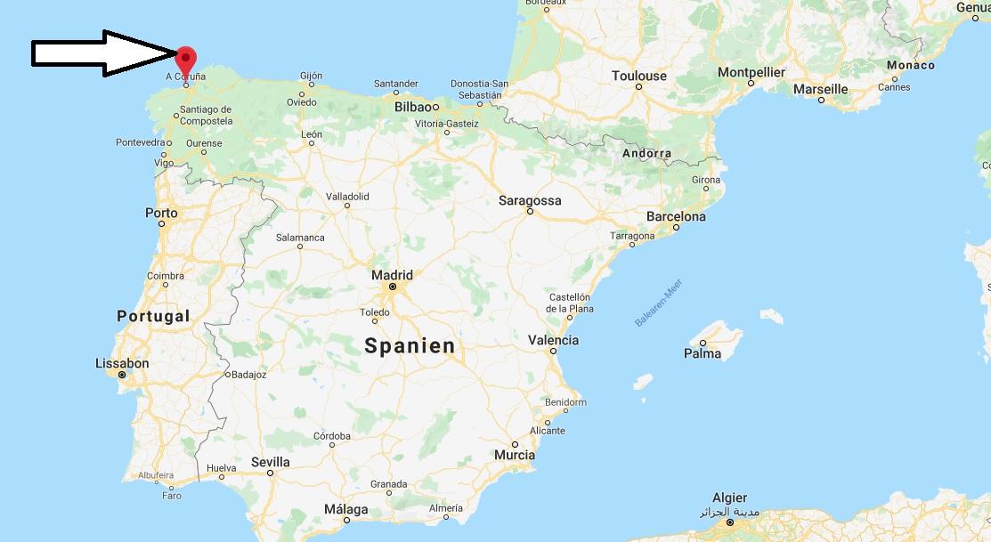 Wo liegt A Coruña? Wo ist A Coruña? in welchem land liegt A Coruña