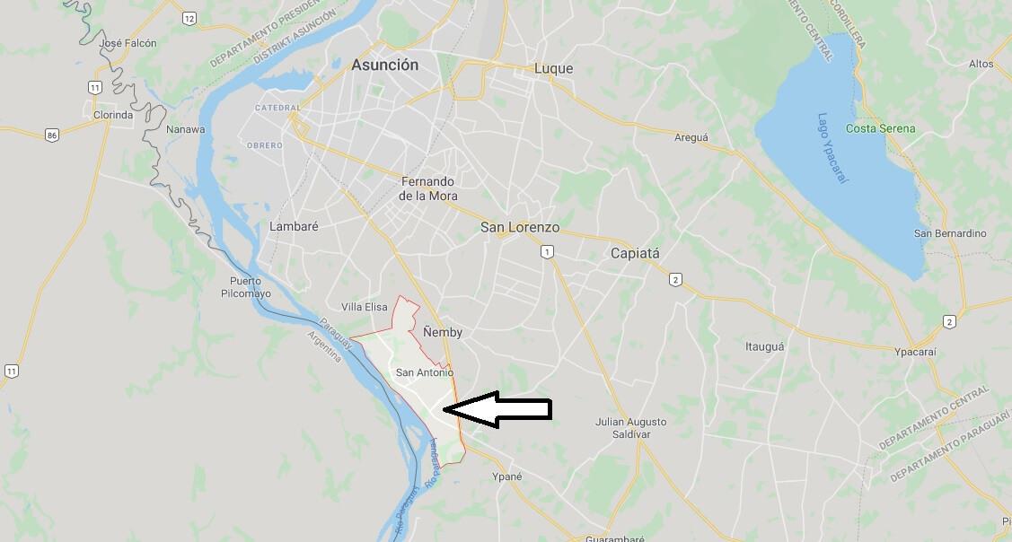 Wo liegt San Antonio, Paraguay? Wo ist San Antonio? in welchem land liegt San Antonio