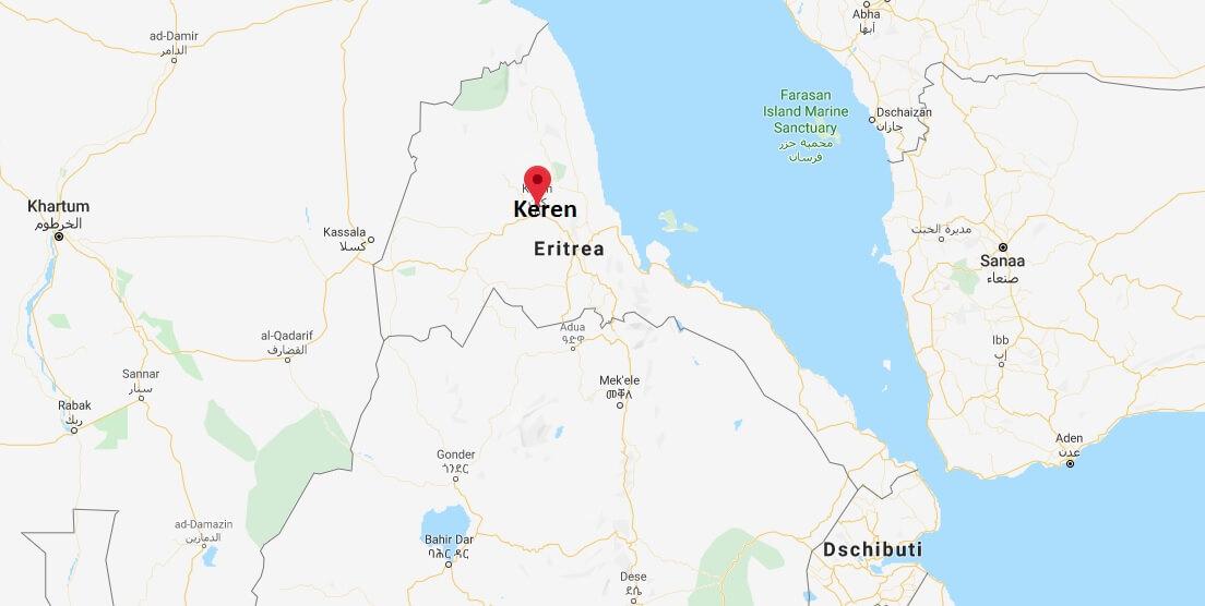 Wo liegt Keren, Eritrea? Wo ist Keren? in welchem land liegt Keren