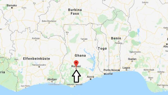 Wo liegt Kumasi? Wo ist Kumasi? in welchem land liegt Kumasi