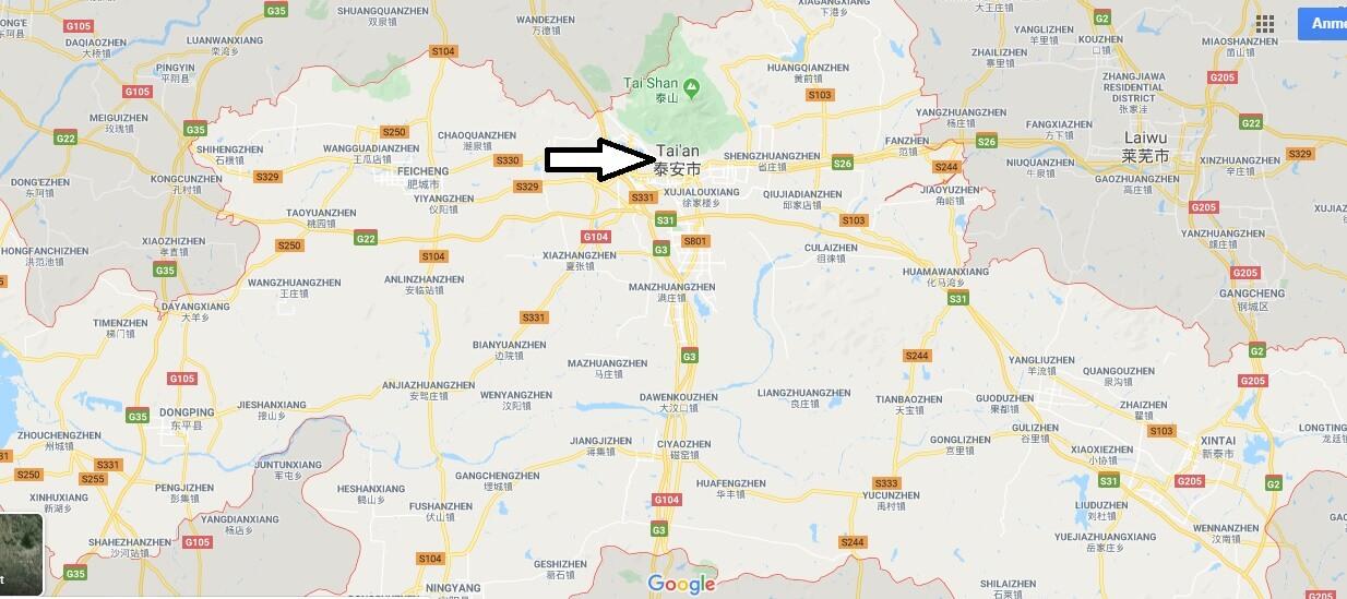 Wo liegt Tai'an? Wo ist Tai'an? in welchem land liegt Tai'an