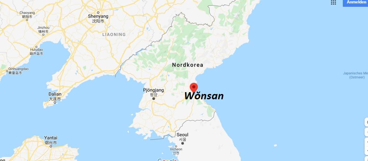 Wo liegt Wŏnsan? Wo ist Wŏnsan? in welchem land liegt Wŏnsan