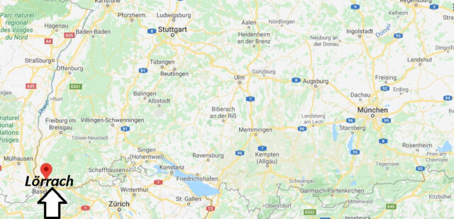 Wo liegt Lörrach? Wo ist Lörrach (Postleitzahl 79539)