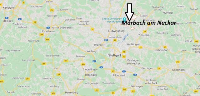 Wo liegt Marbach am Neckar? Wo ist Marbach am Neckar (Postleitzahl 71672)