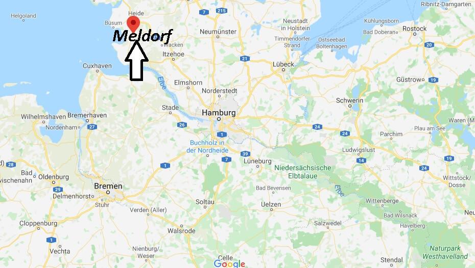 Wo liegt Meldorf? Wo ist Meldorf (Postleitzahl 25704)