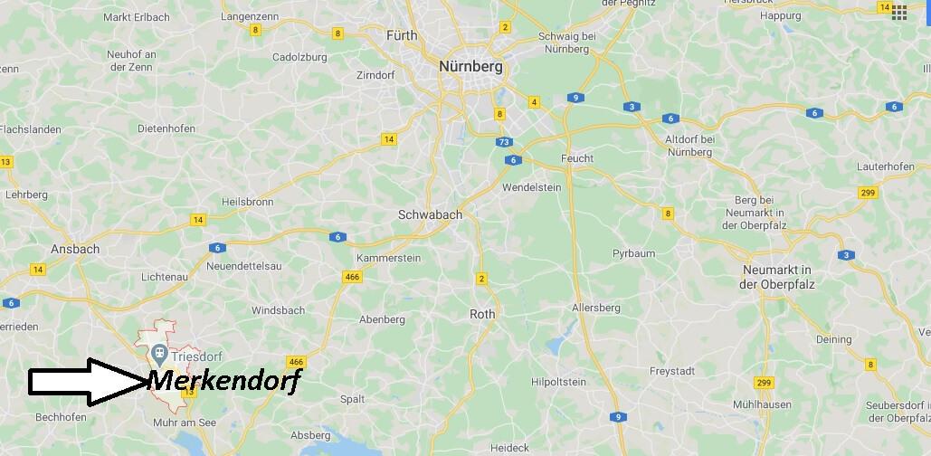 Wo liegt Merkendorf? Wo ist Merkendorf (Postleitzahl 91732)