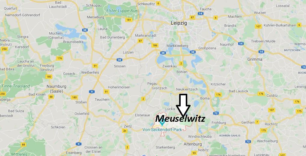Wo liegt Meuselwitz? Wo ist Meuselwitz (Postleitzahl 04610)