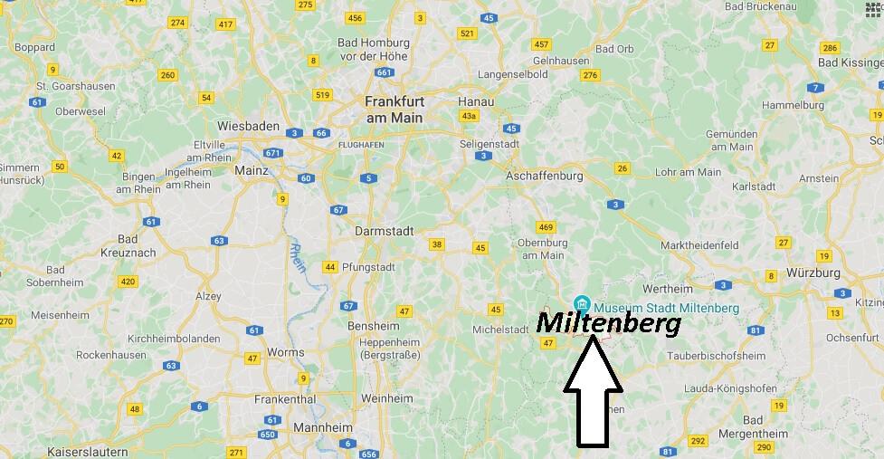 Wo liegt Miltenberg? Wo ist Miltenberg (Postleitzahl 63897)