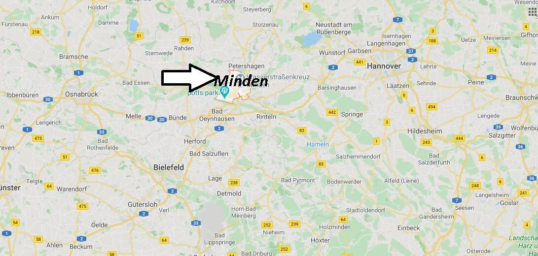 Wo liegt Minden? Wo ist Minden (Postleitzahl 32423)