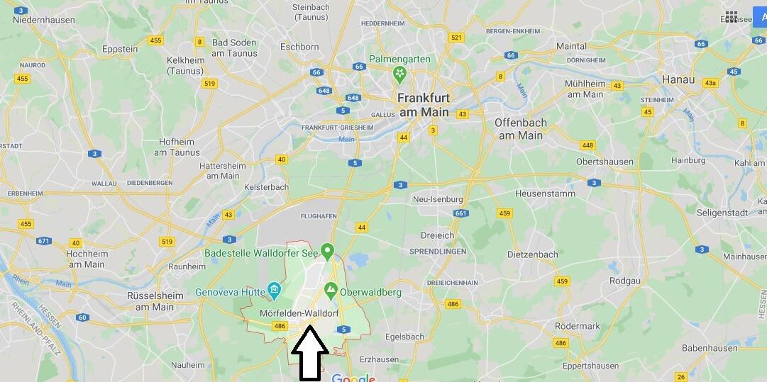 Wo liegt Mörfelden-Walldorf? Wo ist Mörfelden-Walldorf (Postleitzahl 64546)