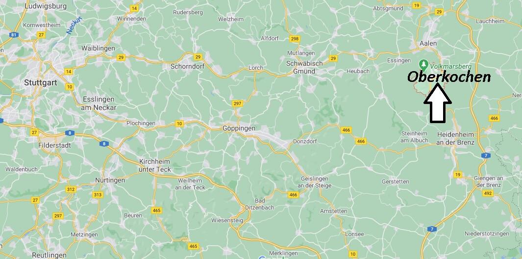 Wo liegt Oberkochen -Wo ist Oberkochen (Postleitzahl 73447)