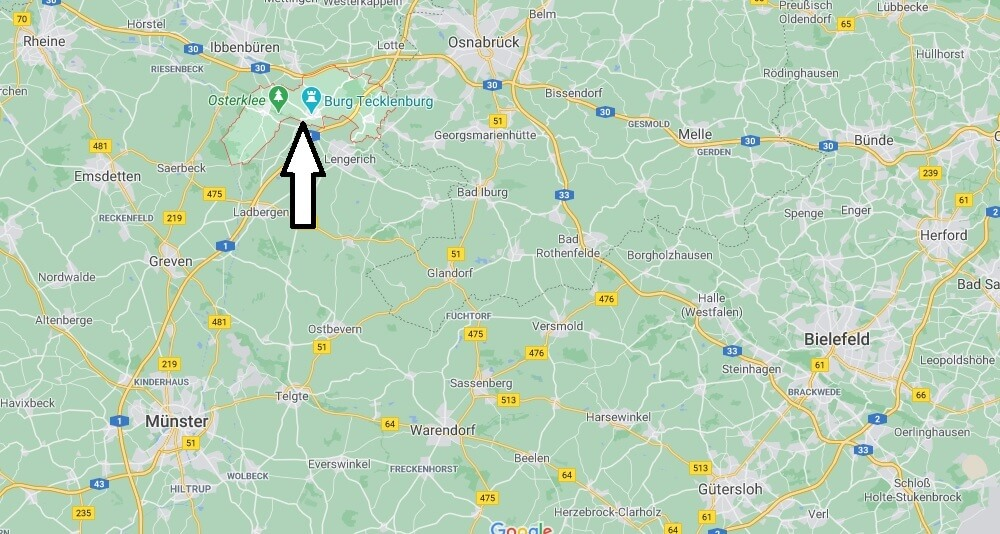 Wo ist Tecklenburg (Postleitzahl 49545)