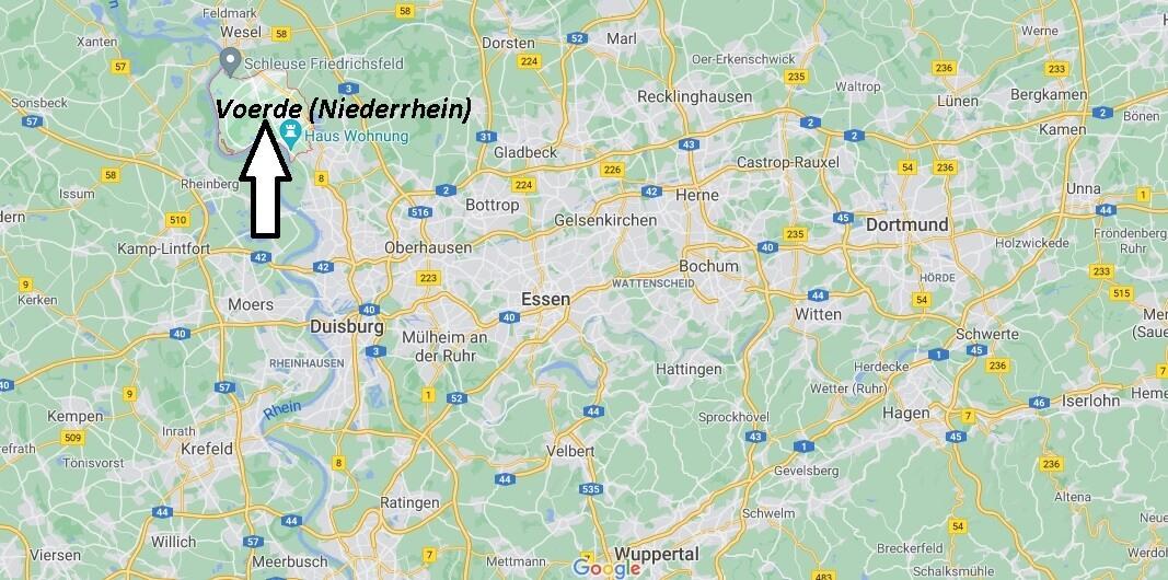 Wo ist Voerde (Niederrhein) (Postleitzahl 46562)
