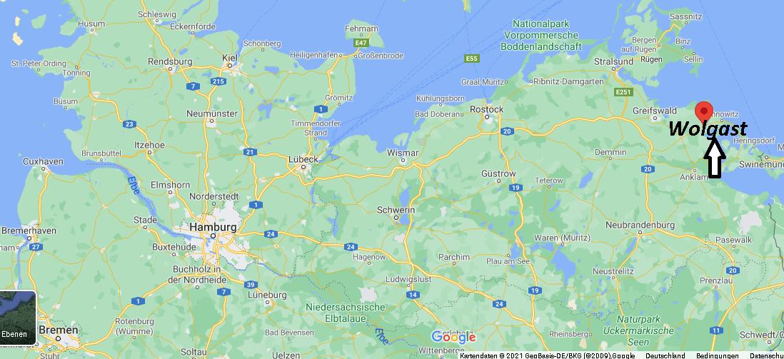 Wo ist Wolgast (Postleitzahl 17438)