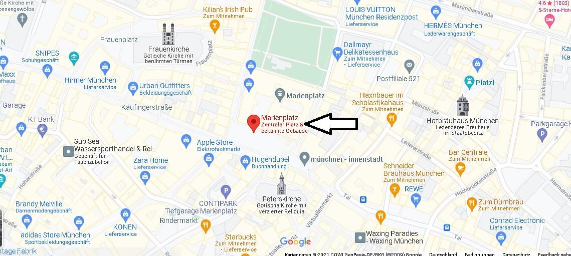 In welcher Stadt liegt der Marienplatz